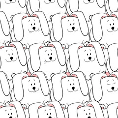 Vector seamless pattern with hand-drawn funny cute fat animals. Silhouettes of animals on a white background. Fun texture with rabbits. Design concept for children print