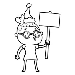 line drawing of a woman wearing glasses wearing santa hat