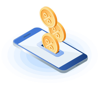 The cash back to the smart phone. Flat isometric illustration of coins with percentage sign are dropping into smartphone screen. The refund money, cashback service, bank deposit profit, vector concept