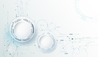 Wall Mural - Vector design 3d paper circle with circuit board. Illustration Abstract modern futuristic, engineering, science, technology background. Hi tech digital connect, communication, high technology concept