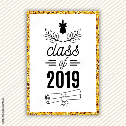 10f406952017 Class of 2019 graduation greeting card with bell