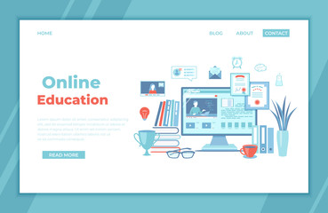 Online Education E-learning Online training, courses, exams, testing. Monitor screen with video tutorials, electronic books. Video chat, tasks, diploma. Landing page template, banner