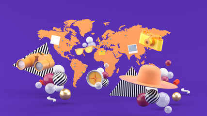 Cameras, binoculars, sunglasses, compasses and hats floating on the map and purple background.-3d rendering.