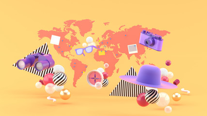 Cameras, binoculars, sunglasses, compasses and hats floating on the map and orange background.-3d rendering.