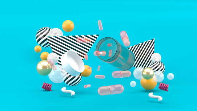 Floating medicine bottle surrounded by colorful balls on blue background.-3d rendering.