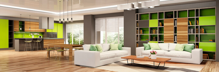 Modern living room interior. 3d  rendering.