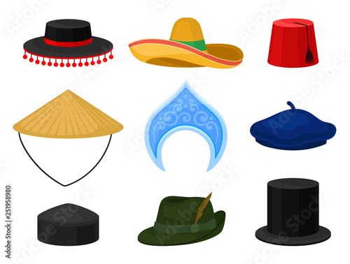 Flat vector set of various national headdress  Traditional headwear