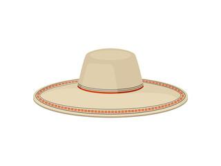 Flat vector of traditional Panama hat for men. Sombrero vaquero. Stylish wide-brimmed headdress. Fashion theme