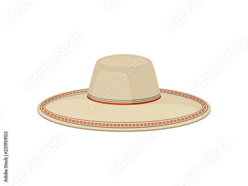 364929b8898c3 Flat vector of traditional Panama hat for men. Sombrero vaquero. Stylish  wide-brimmed headdress. Fashion theme