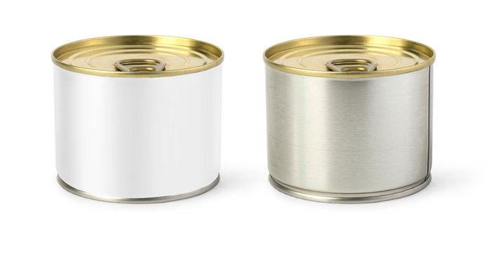 Gold metal tin can isolated