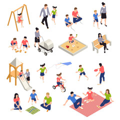 Family Playing Isometric Icons Set