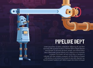 robot turns the valve on the pipeline with a wrench