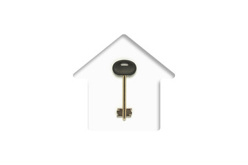 White cardboard cut in the shape of a house and key. Concept of buying a home, mortgage, credit for home, planning, housewarming. Flat lay, top view