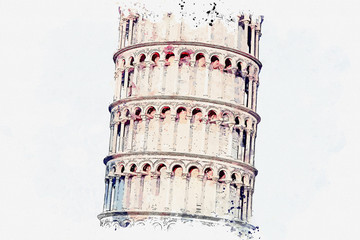 Watercolor sketch or illustration of a beautiful view of the building of the Leaning Tower or the Tower in Pisa in Italy