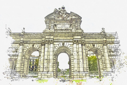 Watercolor sketch or illustration of a beautiful view of the Alcala Gate in Madrid in Spain