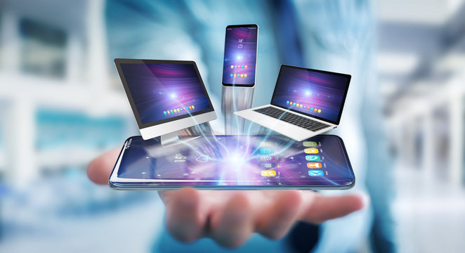 Modern devices connected in businessman hand 3D rendering