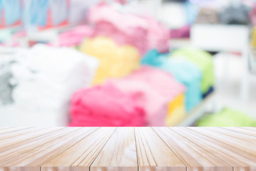 Top of table with blurred cloth shop background