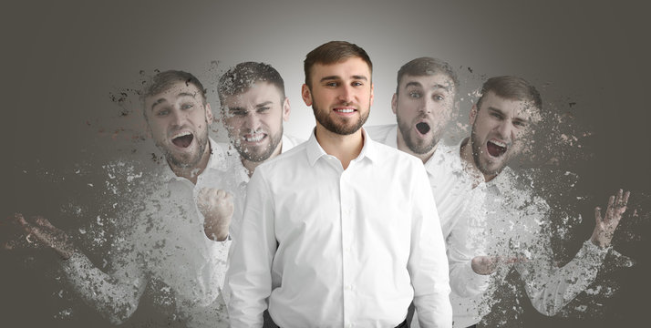 Different emotions of young man on grey background