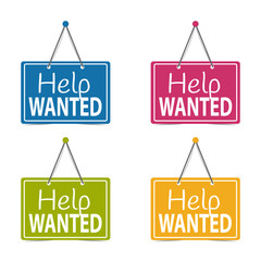Help Wanted Hanging Business Signs - Vector Illustration - Isolated On White Background
