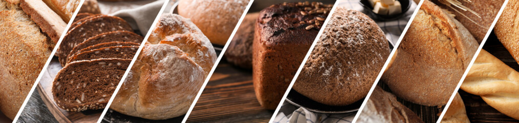 Collage of photos with fresh bakery products