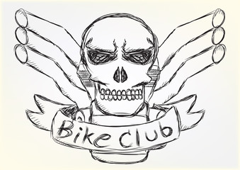 Motorcycle patch skull design sketch style