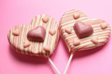 ハートのピンクチョコレート