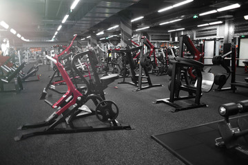 Papiers peints Fitness Modern equipment in new gym indoors