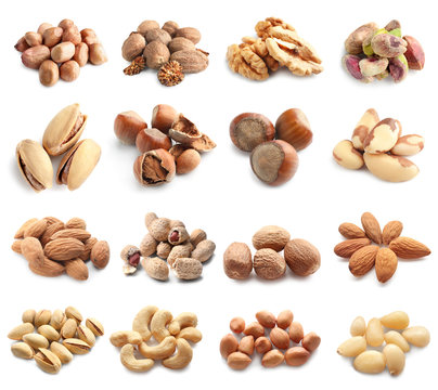 Assortment of tasty nuts on white background