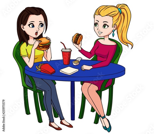 Female Friends Eating Fast Food Meal In Restaurant Two People