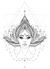 Tribal Fusion Boho Diva. Beautiful Asian divine girl with ornate crown, kokoshnik inspired. Bohemian goddess. Hand drawn elegant illustration. Lotus flower, patterned Indian paisley.