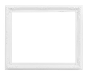 Vintage White Wood Frame ISOLATED on White Background.