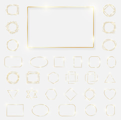 Mega pack of gold shiny glowing frames isolated on white background. Pack of luxury realistic square, rectangle, round, oval, triangle borders. Decorative golden luxury line borders. Vector