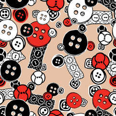 vector pattern of different sewing buttons