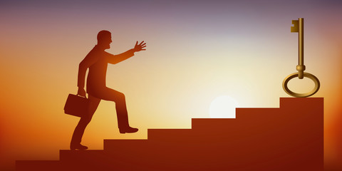 Concept du problème à résoudre pour obtenir le succès, avec un homme montant des escaliers en courant la main tendue vers une clé qui symbolise la solution.