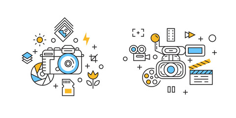 Photography and Videography Illustration. Filming and Cinematic Concept with Flat Line Design Doodle Style