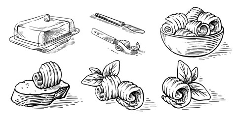 sketch hand drawn sketch hand drawn butter bread butterdish culinary elements vector