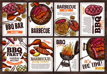 Set of vector hand drawn posters with grilled food, sausages, chicken, french fries, steaks, fish, BBQ bar and party welcome. Collection of colorful sketch cards with typographic