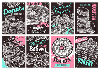 Set of vector hand drawn posters with sweets, homemade bakery, donuts, cakes, macaroons and desserts. Collection of trendy sketch cards with typographic on the chalkboard