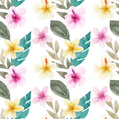 Seamless pattern with flowers and green tropical palm leaves. Exotic and jungle trendy style. Hand drawn watercolor illustration. Exotic hawaiian summer design for print, printing on paper or fabric