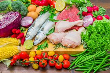 mediterranena diet : fish,meat and ingredients