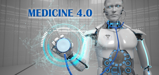 Fototapete - Robot Stethoscope Medicine 4.0