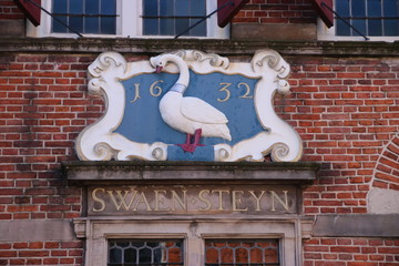 Crest on a ancient building named Swaensteyn from 1512 which is in Voorburg the Netherlands and used for meeting of the City Council