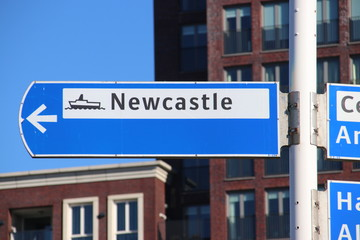 Drection sign to Newcastle, to the DFDS terminal at IJmuiden for the ferry to Newcastle in England