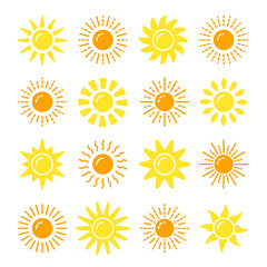 Sun symbol collection. Flat vector icon set. Sunlight signs. Weather forecast. Isolated object