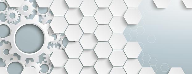 Fototapeta White Hexagon Structure Gears Header obraz