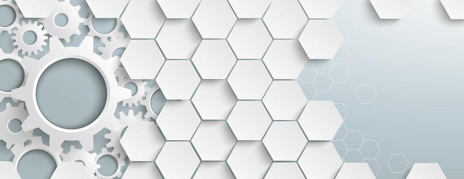 White Hexagon Structure Gears Header