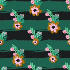 Exotic Bouquet Flowers with Palm Leaves Seamless Pattern Print
