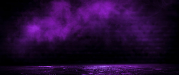 Fotomurales - Dark empty room, old brick walls, concrete floor, smoke, pyal, smog. Violet abstract light, night view.