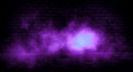 Dark empty room, old brick walls, concrete floor, smoke, pyal, smog. Violet abstract light, night view.