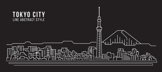 Cityscape Building Line art Vector Illustration design - Tokyo city Wall mural